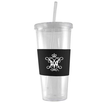 College of William & Mary-24 oz. Acrylic Tumbler- Engraved Silicone Sleeve-Black