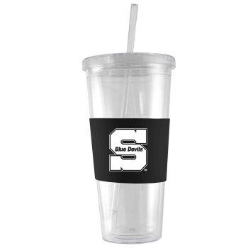 University of Wisconsin-Stout-24 oz. Acrylic Tumbler- Engraved Silicone Sleeve-Black