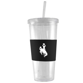 University of Wyoming-24 oz. Acrylic Tumbler- Engraved Silicone Sleeve-Black