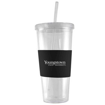 Youngstown State University-24 oz. Acrylic Tumbler- Engraved Silicone Sleeve-Black