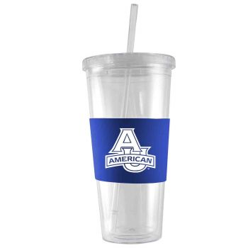 American University-24 oz. Acrylic Tumbler- Engraved Silicone Sleeve-Blue