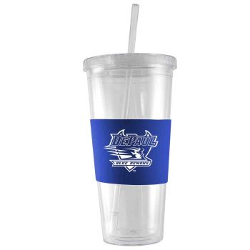 DePaul University-24 oz. Acrylic Tumbler- Engraved Silicone Sleeve-Blue
