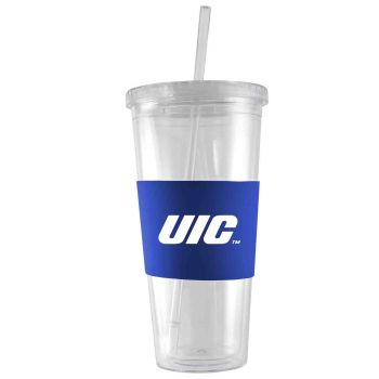 University of Illinois at Chicago-24 oz. Acrylic Tumbler- Engraved Silicone Sleeve-Blue