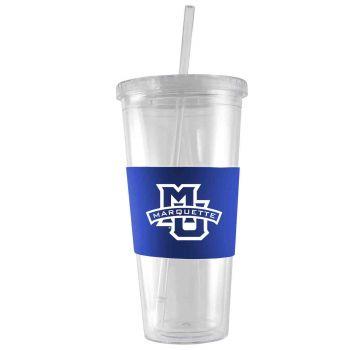 Marquette University-24 oz. Acrylic Tumbler- Engraved Silicone Sleeve-Blue