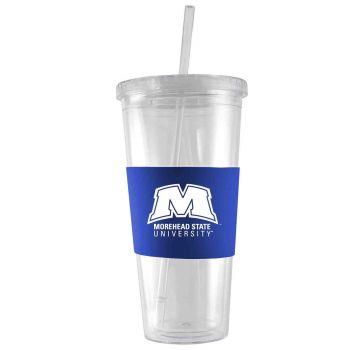 Morehead State University-24 oz. Acrylic Tumbler- Engraved Silicone Sleeve-Blue