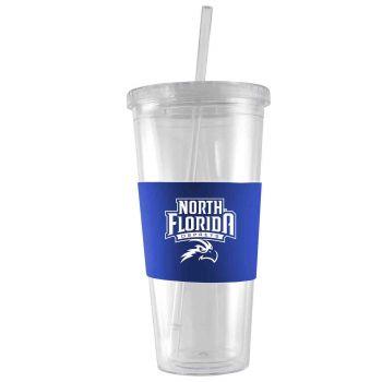 University of North Florida-24 oz. Acrylic Tumbler- Engraved Silicone Sleeve-Blue
