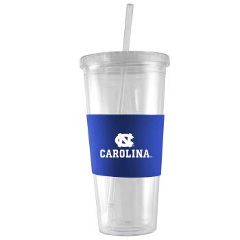 University of North Carolina-24 oz. Acrylic Tumbler- Engraved Silicone Sleeve-Blue