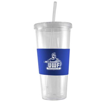 University of West Florida-24 oz. Acrylic Tumbler- Engraved Silicone Sleeve-Blue