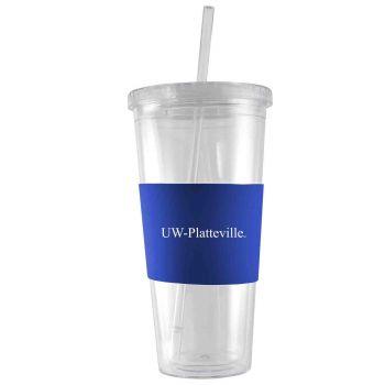University of Wisconsin-Platteville-24 oz. Acrylic Tumbler- Engraved Silicone Sleeve-Blue