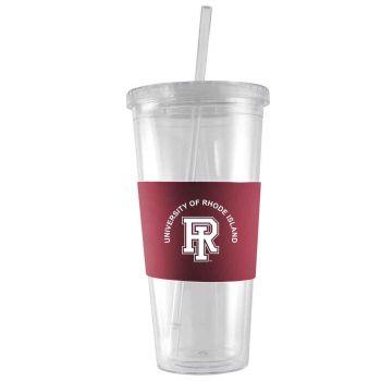 The University of Rhode Island-24 oz. Acrylic Tumbler- Engraved Silicone Sleeve-Burgundy