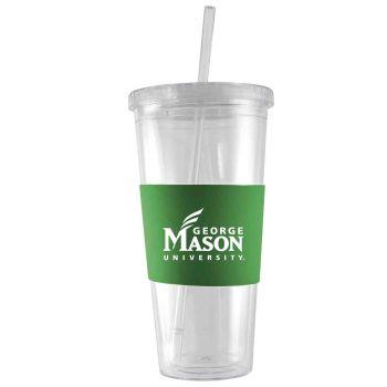 George Mason University -24 oz. Acrylic Tumbler- Engraved Silicone Sleeve-Green