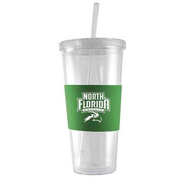 University of North Florida-24 oz. Acrylic Tumbler- Engraved Silicone Sleeve-Green