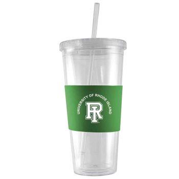 The University of Rhode Island-24 oz. Acrylic Tumbler- Engraved Silicone Sleeve-Green