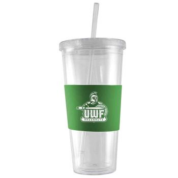 University of West Florida-24 oz. Acrylic Tumbler- Engraved Silicone Sleeve-Green