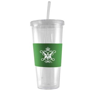 College of William & Mary-24 oz. Acrylic Tumbler- Engraved Silicone Sleeve-Green