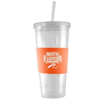 University of North Florida-24 oz. Acrylic Tumbler- Engraved Silicone Sleeve-Orange