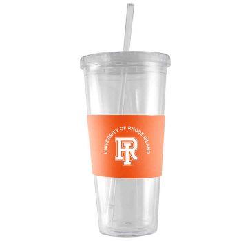 The University of Rhode Island-24 oz. Acrylic Tumbler- Engraved Silicone Sleeve-Orange