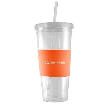 University of Wisconsin-Platteville-24 oz. Acrylic Tumbler- Engraved Silicone Sleeve-Orange