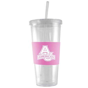 American University-24 oz. Acrylic Tumbler- Engraved Silicone Sleeve-Pink