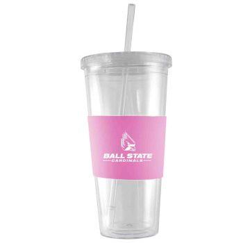 Ball State University-24 oz. Acrylic Tumbler- Engraved Silicone Sleeve-Pink