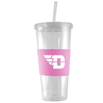 University of Dayton-24 oz. Acrylic Tumbler- Engraved Silicone Sleeve-Pink