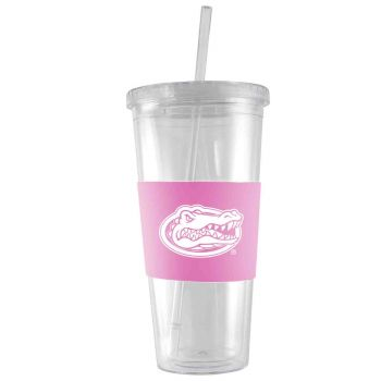 University of Florida-24 oz. Acrylic Tumbler- Engraved Silicone Sleeve-Pink