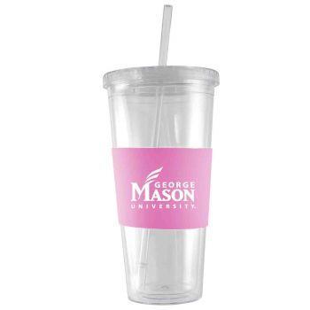 George Mason University -24 oz. Acrylic Tumbler- Engraved Silicone Sleeve-Pink