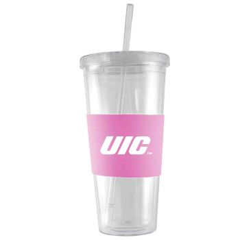 University of Illinois at Chicago-24 oz. Acrylic Tumbler- Engraved Silicone Sleeve-Pink