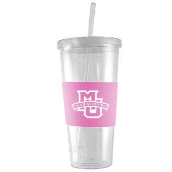 Marquette University-24 oz. Acrylic Tumbler- Engraved Silicone Sleeve-Pink