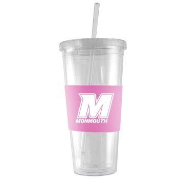 Monmouth University-24 oz. Acrylic Tumbler- Engraved Silicone Sleeve-Pink