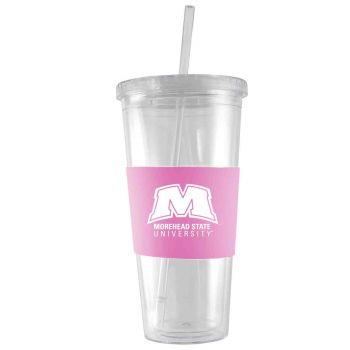 Morehead State University-24 oz. Acrylic Tumbler- Engraved Silicone Sleeve-Pink