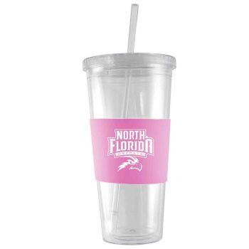 University of North Florida-24 oz. Acrylic Tumbler- Engraved Silicone Sleeve-Pink