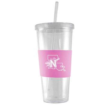 Northwestern State University-24 oz. Acrylic Tumbler- Engraved Silicone Sleeve-Pink