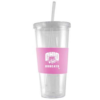 Ohio University-24 oz. Acrylic Tumbler- Engraved Silicone Sleeve-Pink