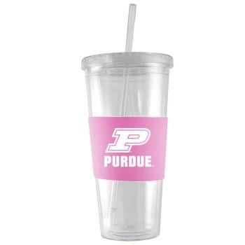 Purdue University-24 oz. Acrylic Tumbler- Engraved Silicone Sleeve-Pink