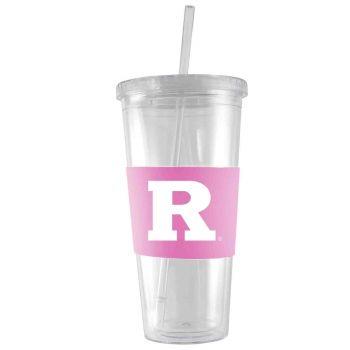 Rutgers University-24 oz. Acrylic Tumbler- Engraved Silicone Sleeve-Pink