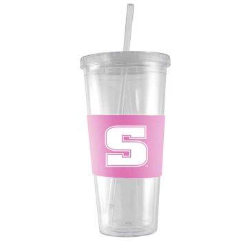 Slippery Rock University -24 oz. Acrylic Tumbler- Engraved Silicone Sleeve-Pink
