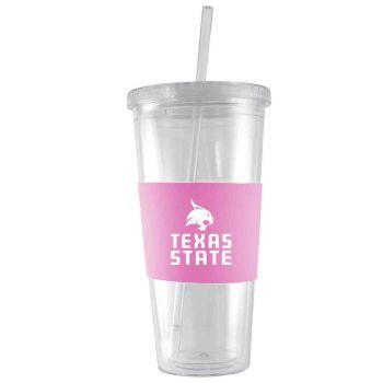 Texas State University-24 oz. Acrylic Tumbler- Engraved Silicone Sleeve-Pink