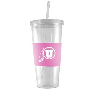 University of Utah-24 oz. Acrylic Tumbler- Engraved Silicone Sleeve-Pink