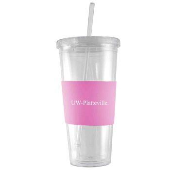 University of Wisconsin-Platteville-24 oz. Acrylic Tumbler- Engraved Silicone Sleeve-Pink