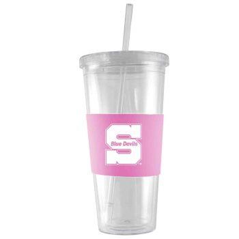 University of Wisconsin-Stout-24 oz. Acrylic Tumbler- Engraved Silicone Sleeve-Pink