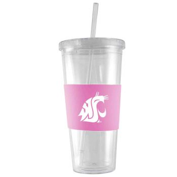 Washington State University-24 oz. Acrylic Tumbler- Engraved Silicone Sleeve-Pink