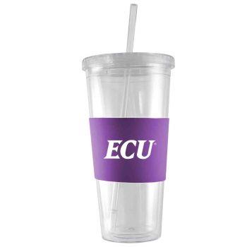East Carolina University-24 oz. Acrylic Tumbler- Engraved Silicone Sleeve-Purple