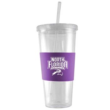 University of North Florida-24 oz. Acrylic Tumbler- Engraved Silicone Sleeve-Purple