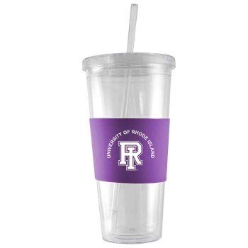 The University of Rhode Island-24 oz. Acrylic Tumbler- Engraved Silicone Sleeve-Purple