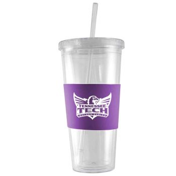 Tennessee Technological University-24 oz. Acrylic Tumbler- Engraved Silicone Sleeve-Purple