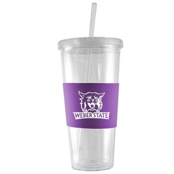 Weber State University-24 oz. Acrylic Tumbler- Engraved Silicone Sleeve-Purple