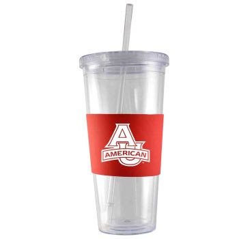 American University-24 oz. Acrylic Tumbler- Engraved Silicone Sleeve-Red