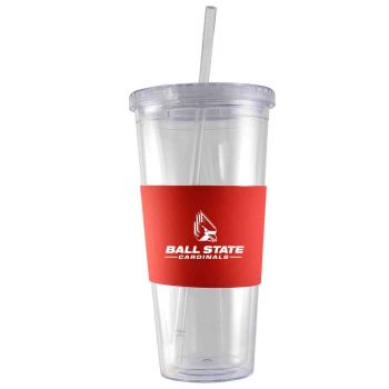 Ball State University-24 oz. Acrylic Tumbler- Engraved Silicone Sleeve-Red