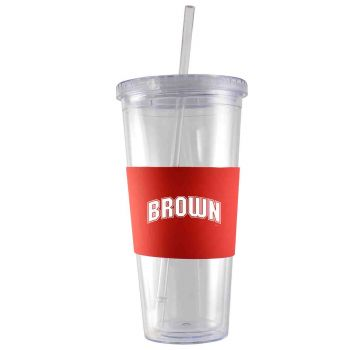 Brown University-24 oz. Acrylic Tumbler- Engraved Silicone Sleeve-Red
